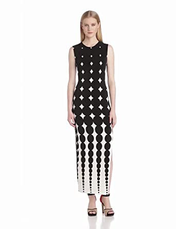 KAMALIKULTURE Women's Shift Maxi Gown with Slit, Black/Off-White Ombred Dots, X-Small