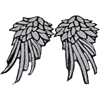 Souarts Silver Color Sequins Wings Shaped Embroidered Sew Iron On Applique Patches