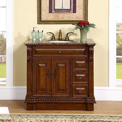 Amazoncom Silkroad Exclusive Countertop Granite Stone Single Sink - 38 inch bathroom vanity