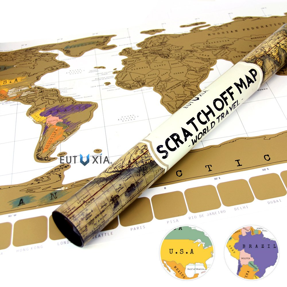 Amazon eutuxia scratch off world map poster mark and track the amazon eutuxia scratch off world map poster mark and track the places youve traveled by scratching and reveal multiple colors underneath gumiabroncs Image collections