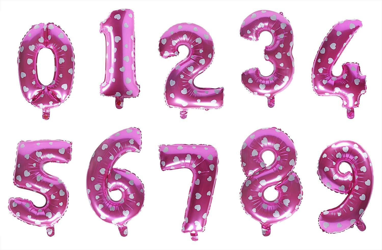 ペンタエンジェル 16インチ ピンク 0-9 数字のバルーン ホイル巨大バルーン 特大バルーン 結婚式 誕生日パーティー ベビーシャワー 記念日 写真撮影用   B07PBDHTKB