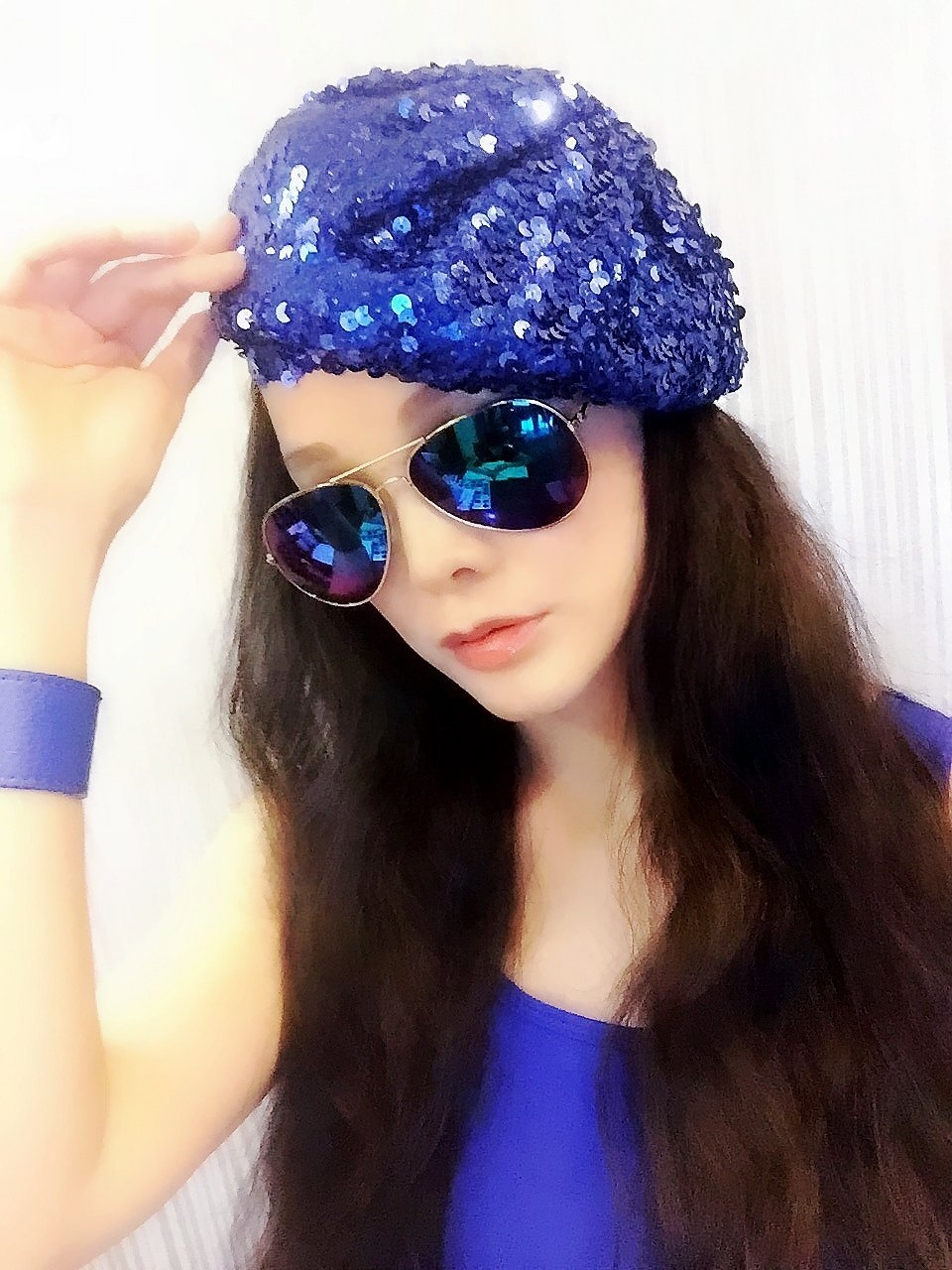 Deep Blue Sequin Beret,Caps, Hats, Womens Hats, sequined hat, beret, Gimme Cap, Fashion Hats, Personality Hats, Show Hats, Beautiful Cap,Hipster,Fashion,Gift ,Show, Party ,Holiday