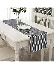 Aerwo 14X72inch/35X182cm tapetes para la mesa se puede lavar a máquina. Negro y Blanco Rayas camino de mesa camino de mesa para boda y fiestas
