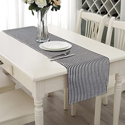 Aerwo 1472inch Table Runner Black And White Striped Table Runner