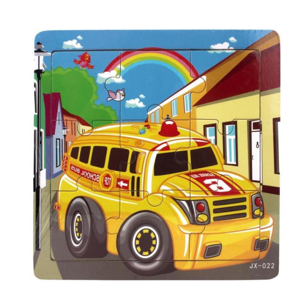 Witspace Kids Wooden Jigsaw, Puzzles Toys for Education and Learning-14.7cmx14.7cm, 9 Pieces (School Bus)