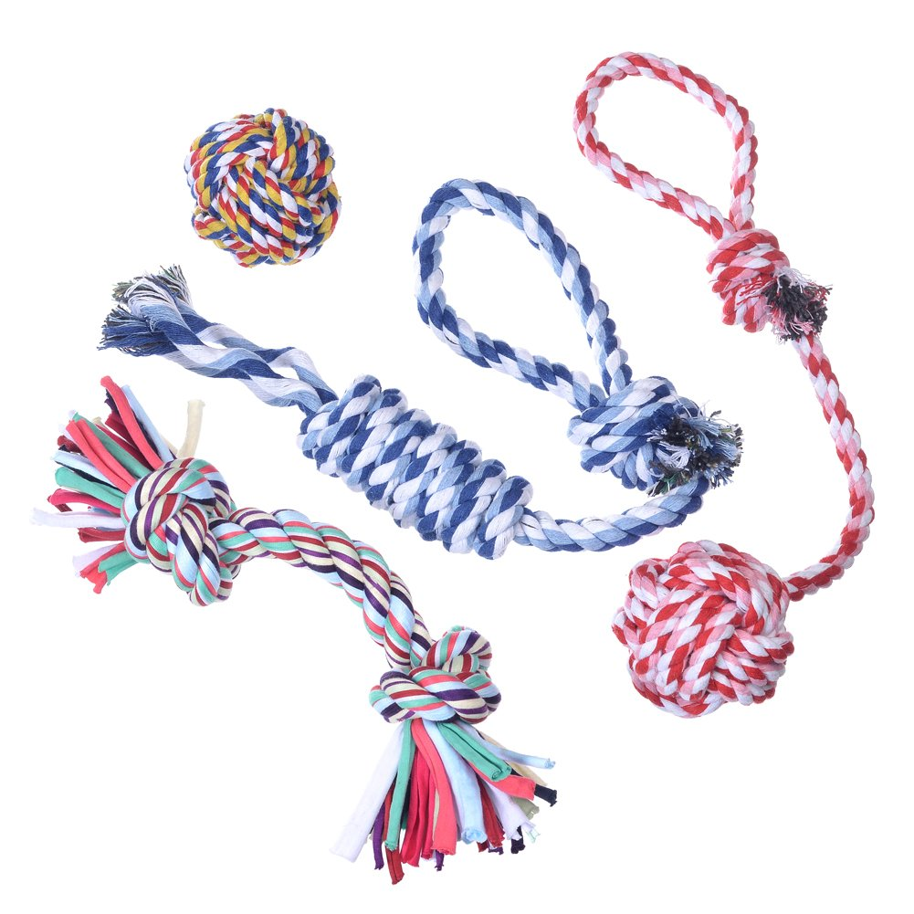Hipetz- Dog Toys 4 Pack Gift Set - Durable Puppy Chew Rope Toy For Small to M...