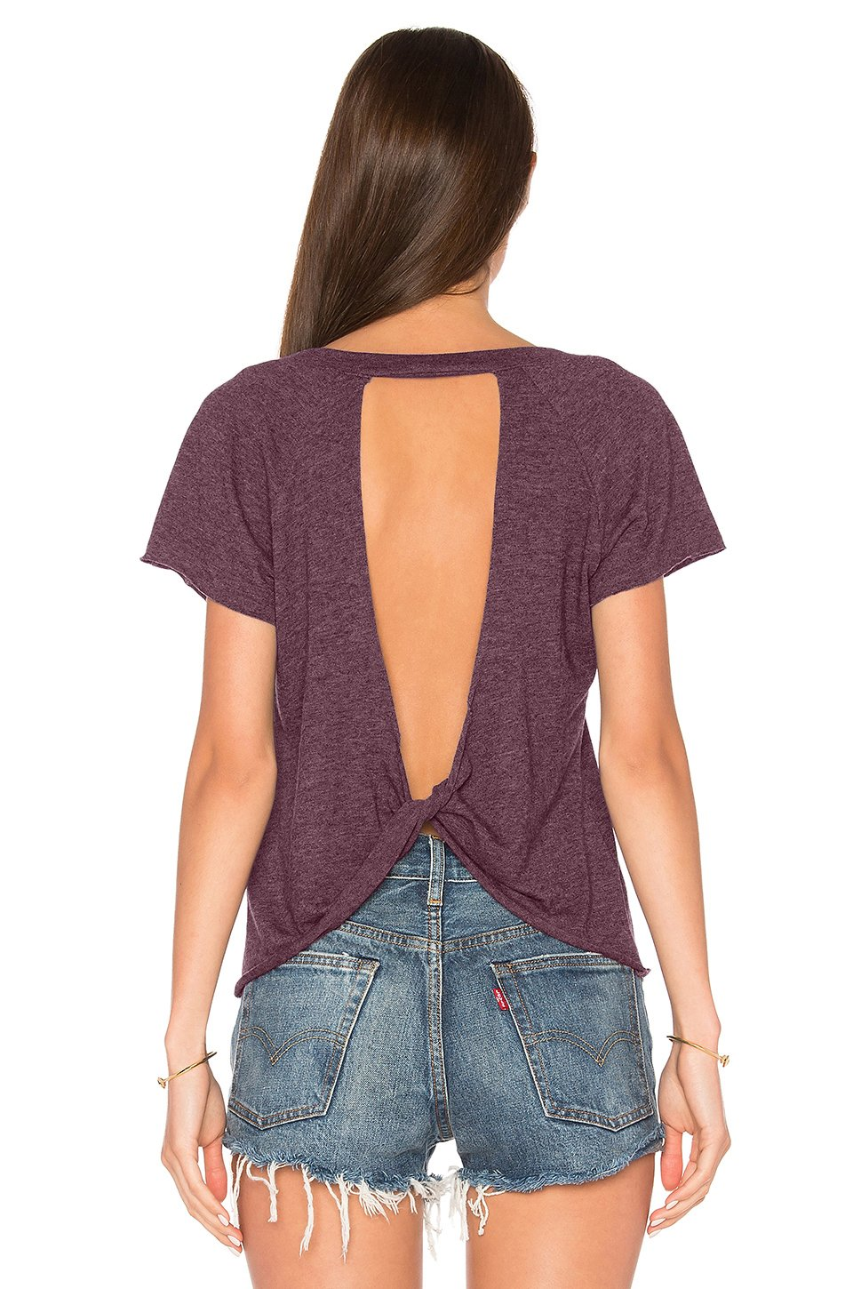 Blooming Jelly Ladies Tops Open Back Knotted Backless Short Sleeve Slim Casual for Womens T Shirt