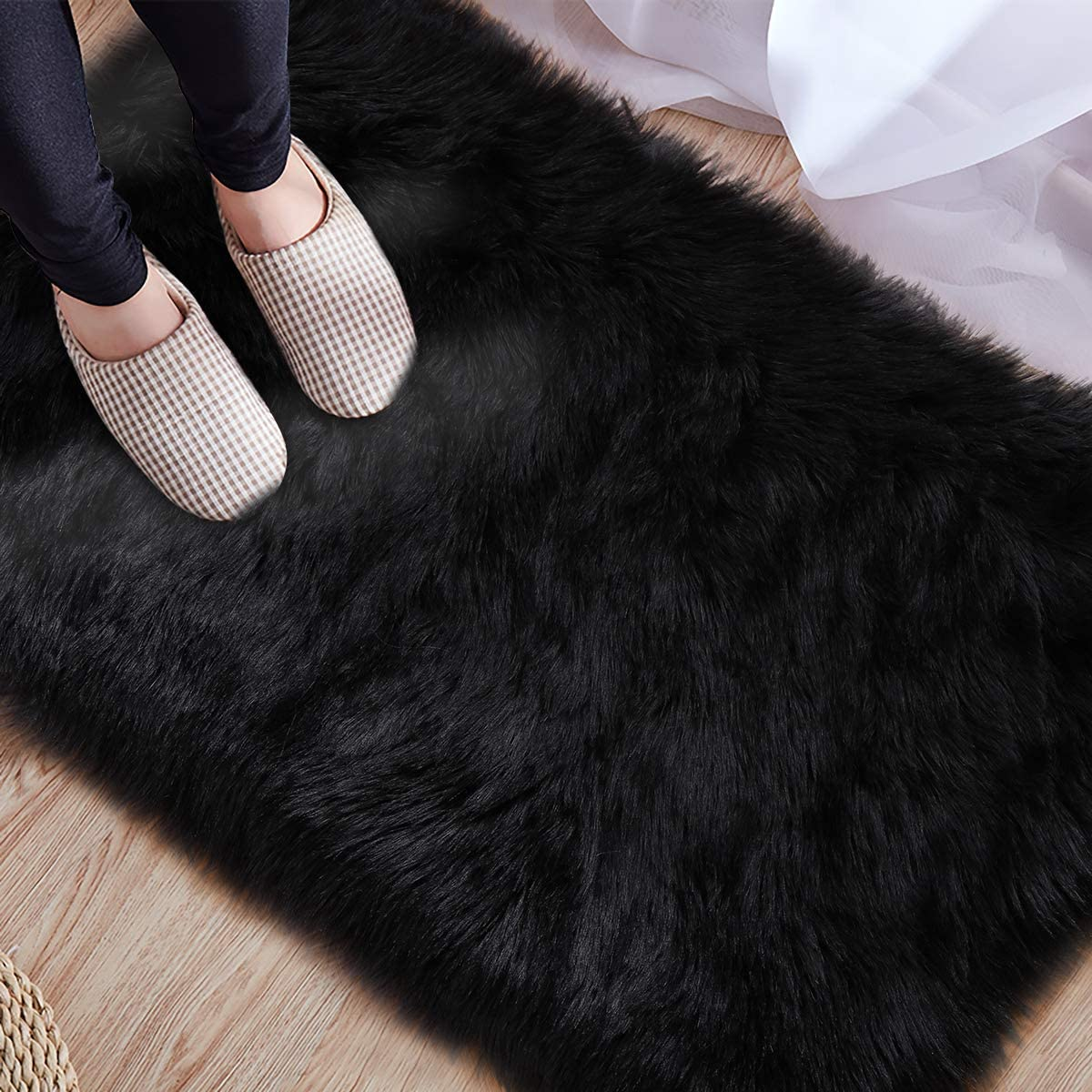 2x3 Feet Light Blue LOCHAS Ultra Soft Fluffy Rugs Faux Fur Sheepskin Area Rug for Bedroom Bedside Living Room Carpet Nursery Washable Floor Mat