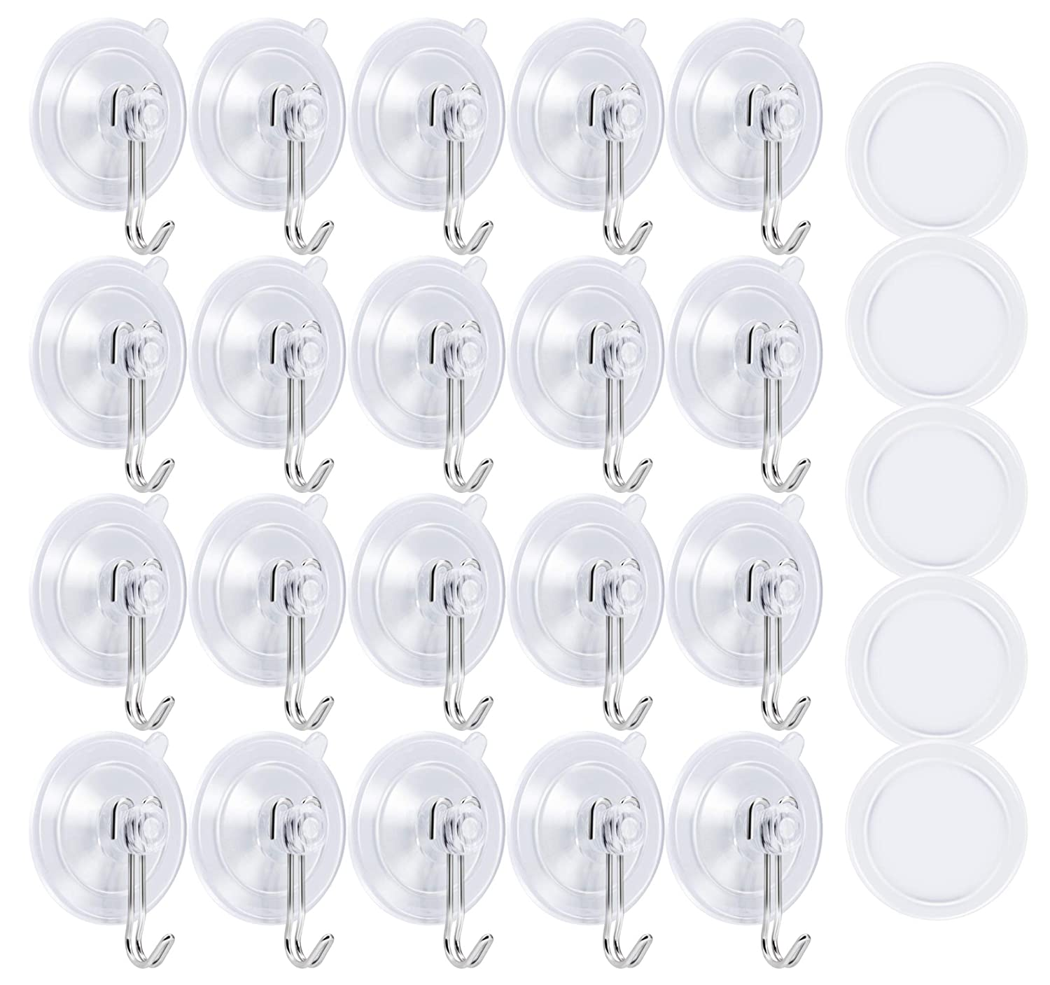 Famistar 20 Pieces Bathroom Kitchen Suction Cup Wall Hooks Hangers