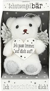 Depesche 10854 – Ángel de la guarda, oso de peluche en caja, aprox. 10 cm, colores surtidos, blanco y plateado