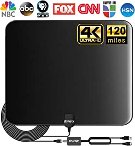 [Updated 2020 ] TV Antenna, Indoor Amplified Digital HDTV Antenna, 80-120 Miles Range Signal Booster for 4K 1080p Fire TV Stick Local Channels and All TV's