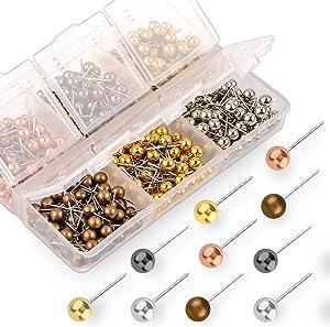 Yalis Push Pins Map Tacks 1/8-Inch Retro Metallic Color Beads Head Marking Pins, 6 Colors, 360-count