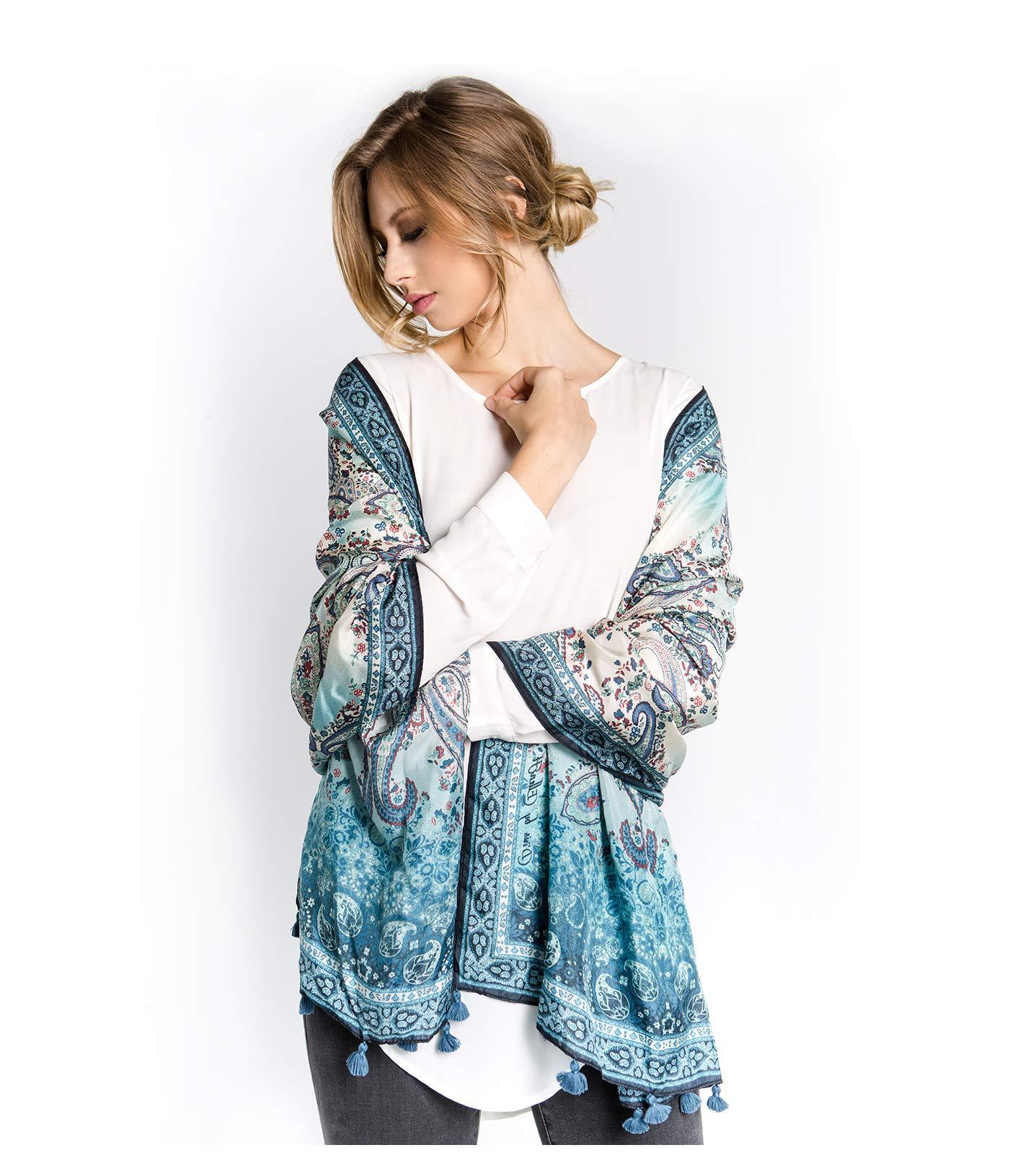 Fine Silk Scarf for Women-Luxury Fashion Print Extra Long Lightweight Wrap Shawl Headscarf by d'IRIS (Image #1)