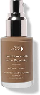 product image for 100% PURE Water Foundation (Fruit Pigmented), Warm 7.0, Full Coverage, Semi-Dewy Finish, For Normal, Dry Skin (Warm w/Yellow Undertones for Dark Skin) - 1 Fl Oz