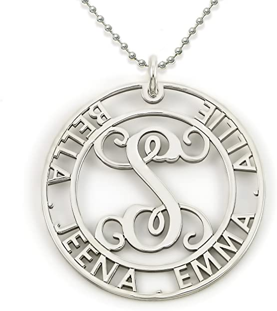 AJs Collection Big Lovie Dovie Personalized Heart Name Necklace Customize The Three Initial Monogram and Names Surrounding it Choice of 925 Chains