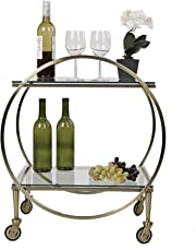Mind Reader BARC-GLD 2 Tier, Metal, Portable Bar, Mobile Pushing Cart, Glass Top Gold Finish, Clear, One Size