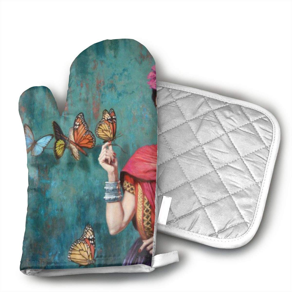 Wiqo9 Frida Interest Print Oven Mitts and Pot Holders Kitchen Mitten Cooking Gloves,Cooking, Baking, BBQ.