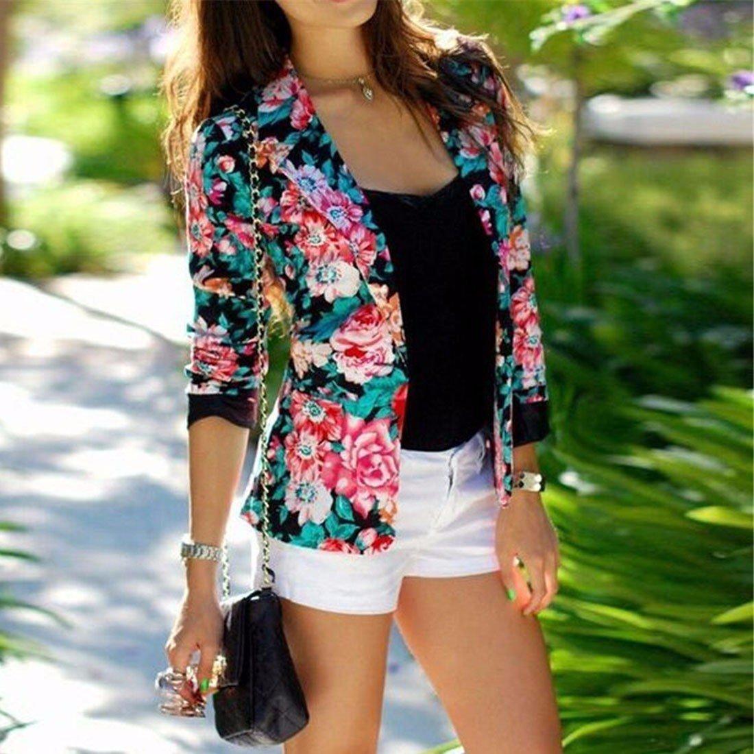 fleur de mode motif de fleur imprimee courte veste de costume a manches longues pardessus