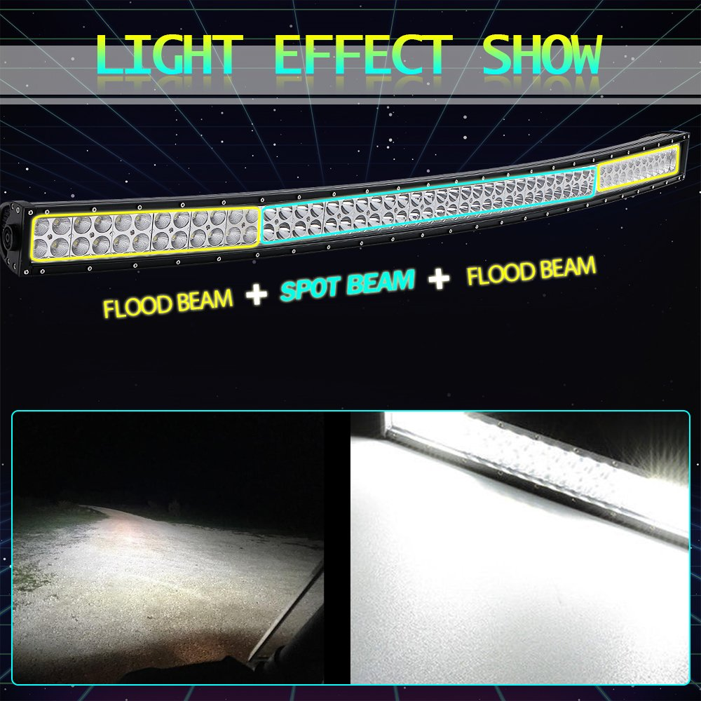 Turbosii 54 Inch Curved Led Light Bar Spot Flood Combo Offroad Jeep Rv Wiring Bumper Windshield Roof