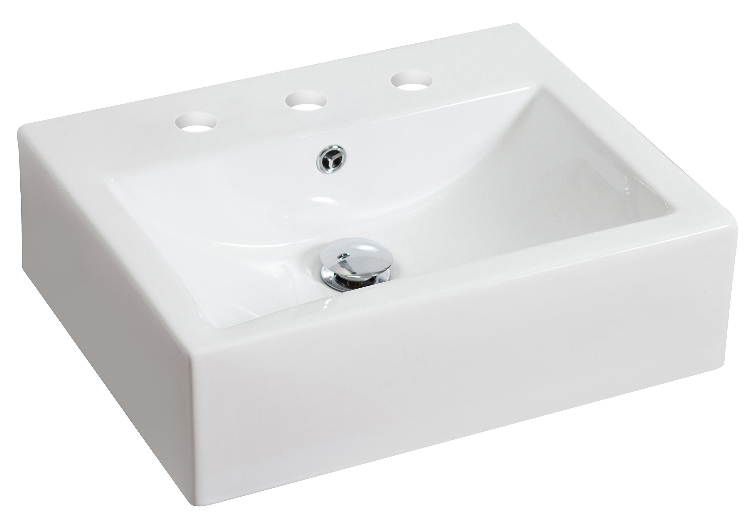 American Imaginations 594   Above Counter Rectangle White Ceramic Vessel with 8-Inch  Centers