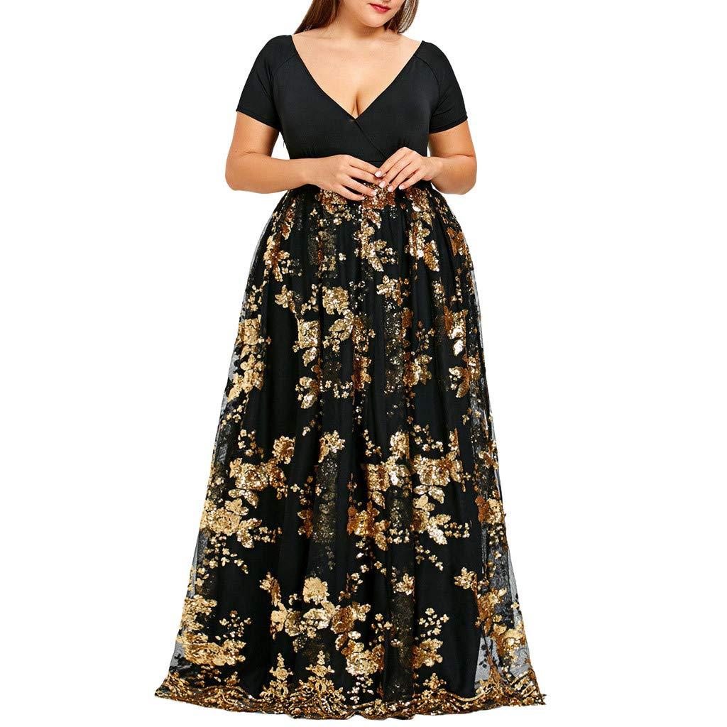 OldSch001 Women Plus Size Dresses,v-Neck Short Sleeve Floral Lace Sequined Evening Party Mesh Flowy Dress(Gold,XXXL)