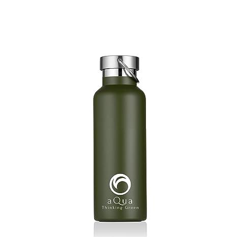 Aqua, Botella Agua Térmica 500 ml, Acero Inoxidable,Termo Doble Pared Aislada al Vacío, Verde Militar, Boca Ancha, Ecológica, para Deporte, Oficina, ...
