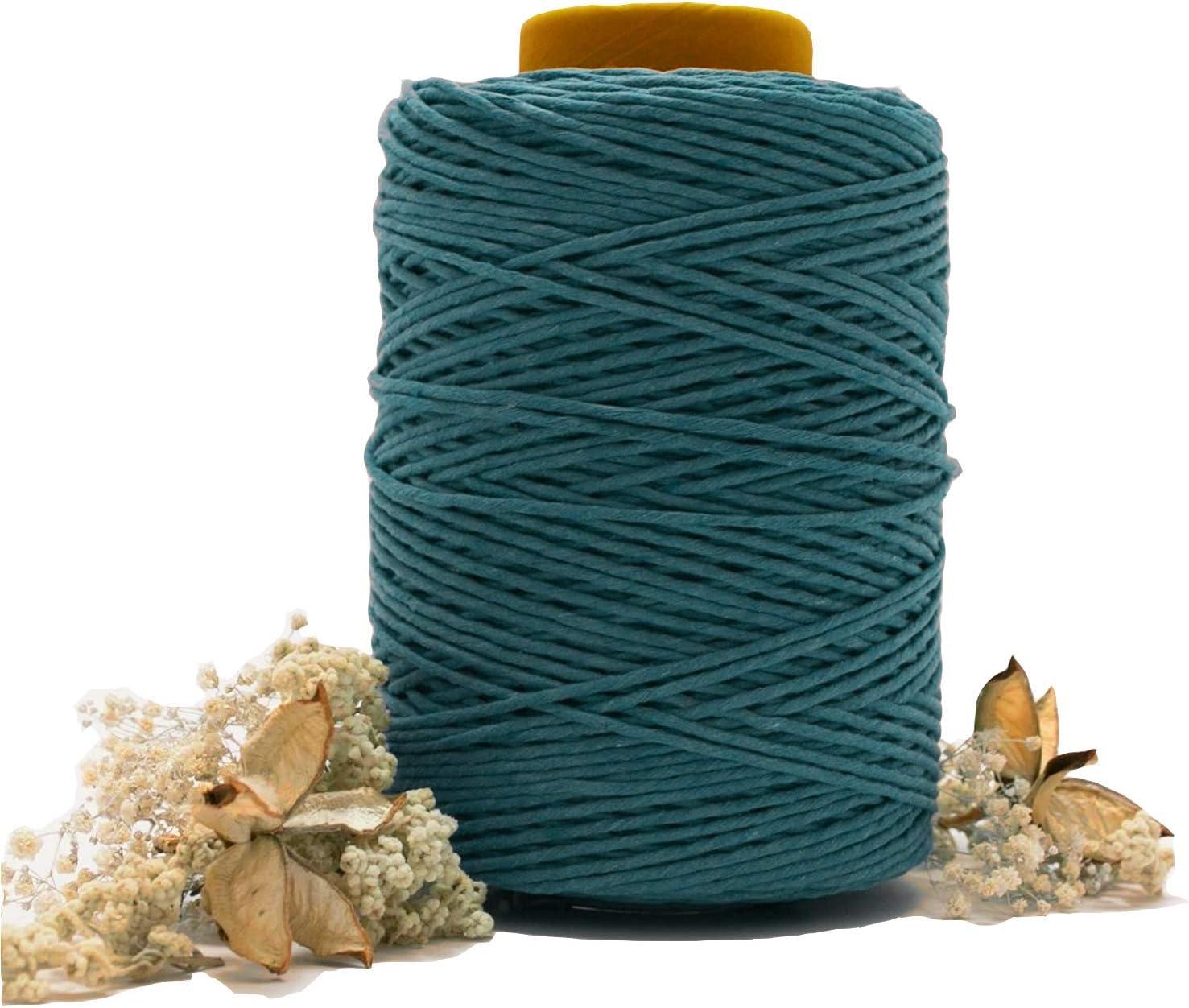 Macrame Cord Blackish Green 3mm x 109Yards(100m), ArtStudy 100% Natural Macrame Cotton Rope 4 Strand Craft Cord for Handmade Wall Hanging, Plant Hangers, DIY Craft Knitting, Boho Decors(3mm x 109yd)