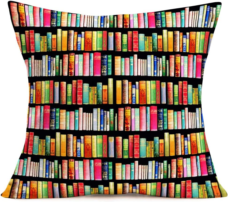 Hopyeer Bookshelf Throw Pillow Cushion Cover Bookstore Doodle Books Shelves Collection Bookcase Library Reading Club Classroom Pillow Cover Cotton Linen Decor Sofa Desk Chair 18x18Inch (BK-Books)