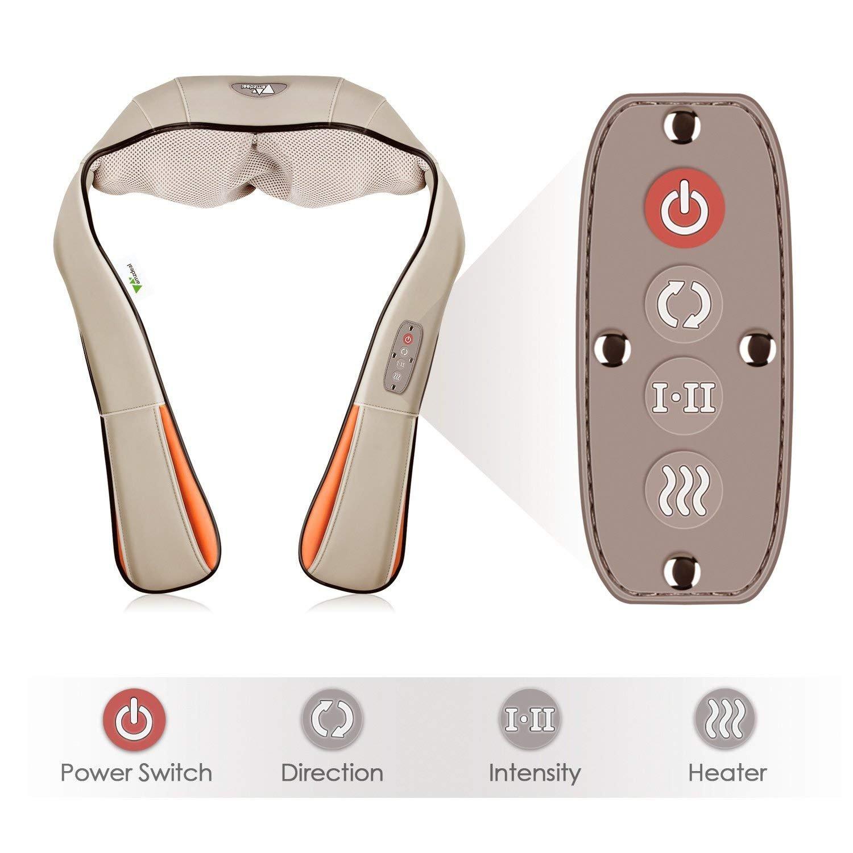 amzdeal - cuello masajeador Masajeador de masaje Shiatsu con nodos de masaje 8, calefacción y función de temporizador para oficina casa coche: Amazon.es: ...