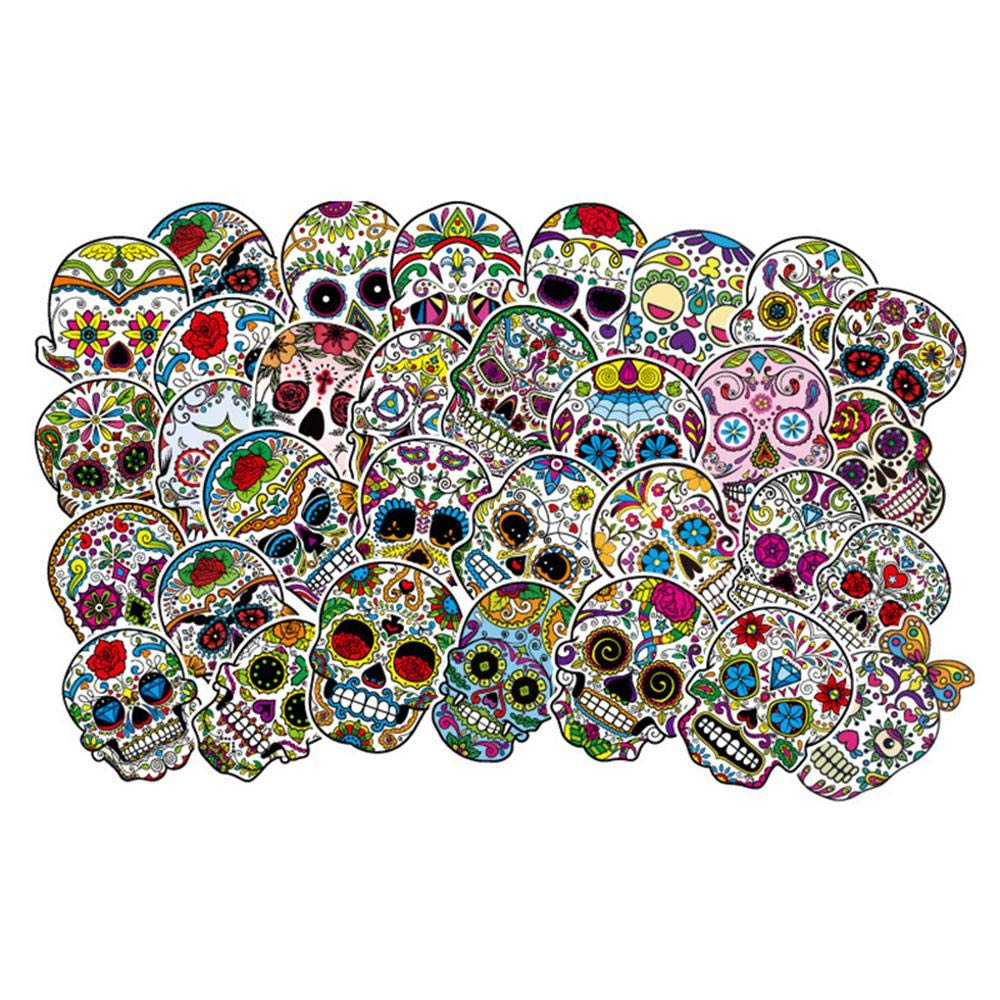 FOONEE 50pcs Sugar Skull Sticker Pack, Skateboard Stickers Personalized Graffiti Stickers for Laptop,Cars,Motorcycle,Bicycle,Skateboard Luggage