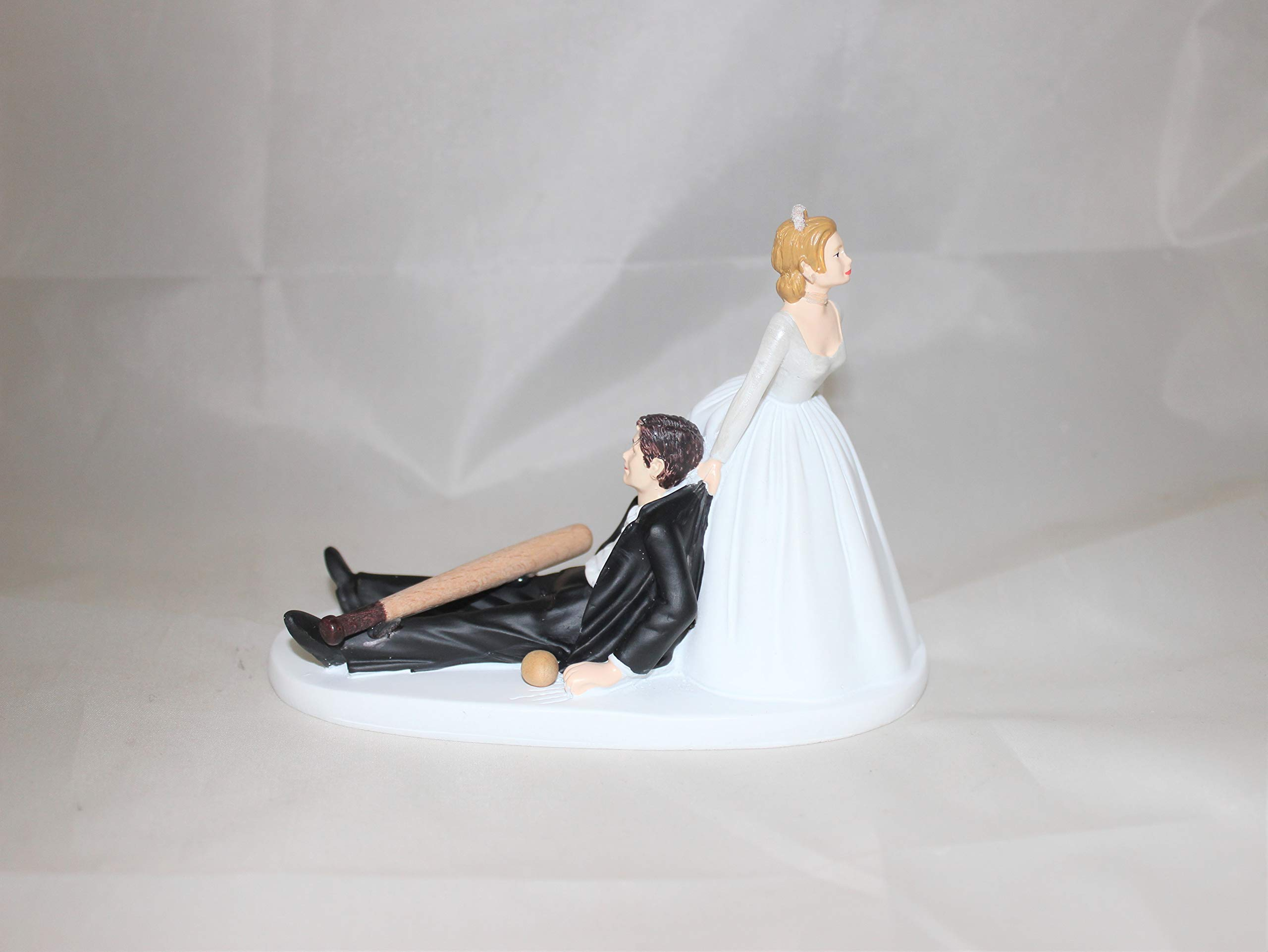 Wedding Party Reception Ball and Bat Baseball player Cake Topper by Custom Designed by Suzanne