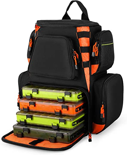 Piscifun Fishing Tackle Backpack Large Waterproof Tackle Bag Storage with Protective Rain Cover 4 Trays Tackle Box