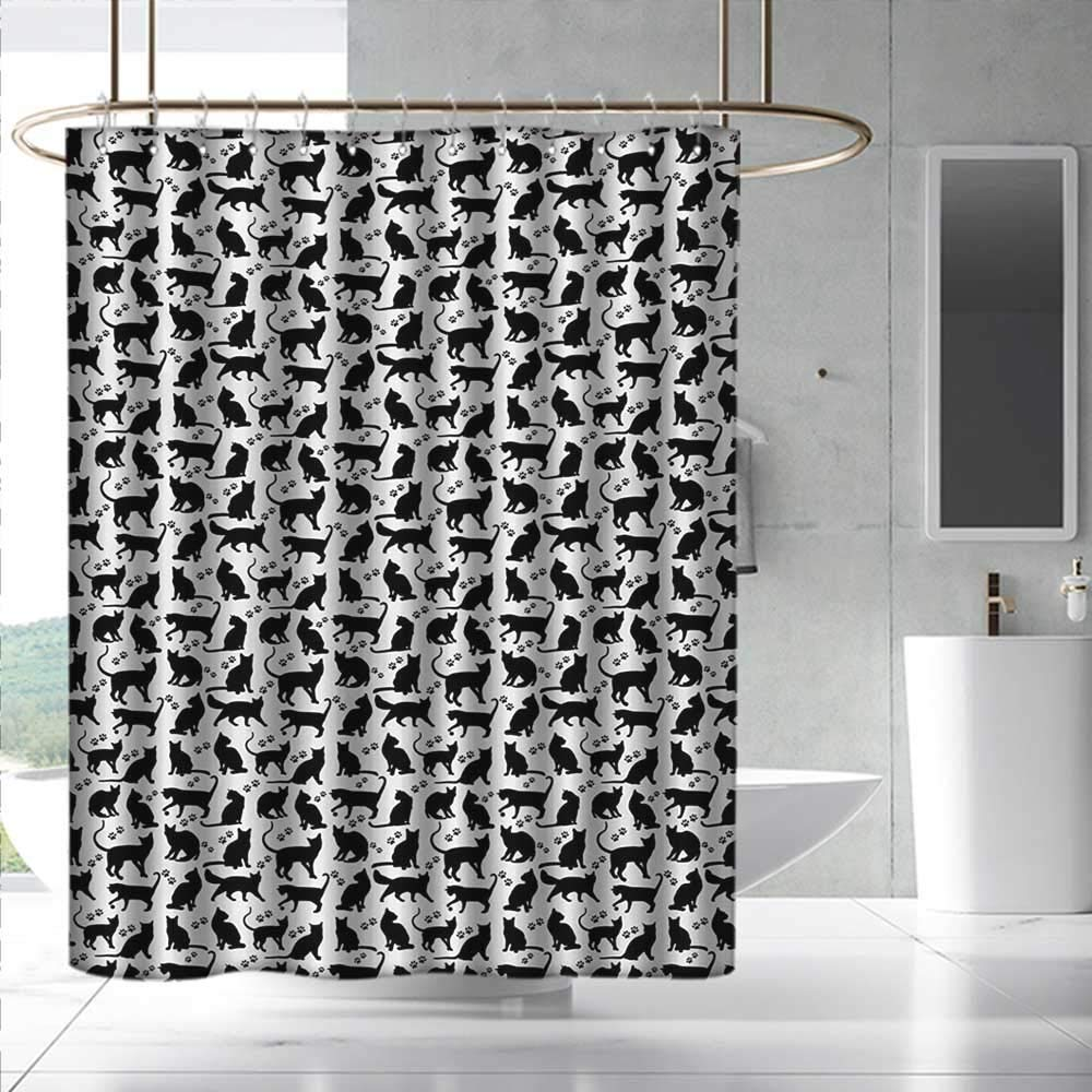 Cat Shower Curtain&Metal Hooks Black Silhouettes in Different Positions Friendly Furry Feline Domestic Pet Figures for Master, Kid's, Guest Bathroom W108 x L72 Black White