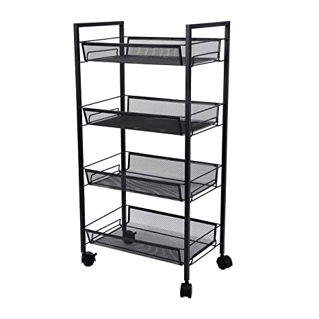 5ac7a2d6a68c 4-Tier Mesh Wire Rolling Cart Multifunction Utility Cart Office Home  Kitchen Storage Cart on Wheels, Steel Wire Basket Shelving Trolley,Easy  Moving ...
