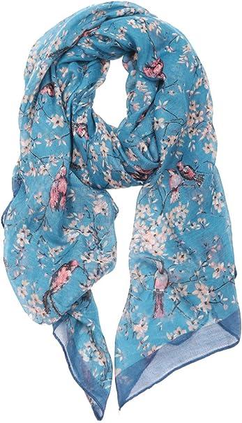 Women/'s Flower Floral Bird Print Scarf Shawl Wrap UK Seller Black Navy Valentine