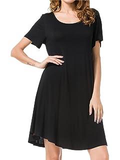 bf5a7946 JollieLovin Women's Tunic Top Casual Short Sleeve Swing Loose T-Shirt Dress