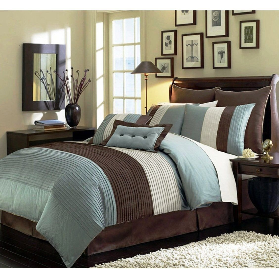 Chezmoi Collection 6-Piece Luxury Stripe Comforter Bed-in-a-Bag Set, Blue/Beige/Brown, Twin