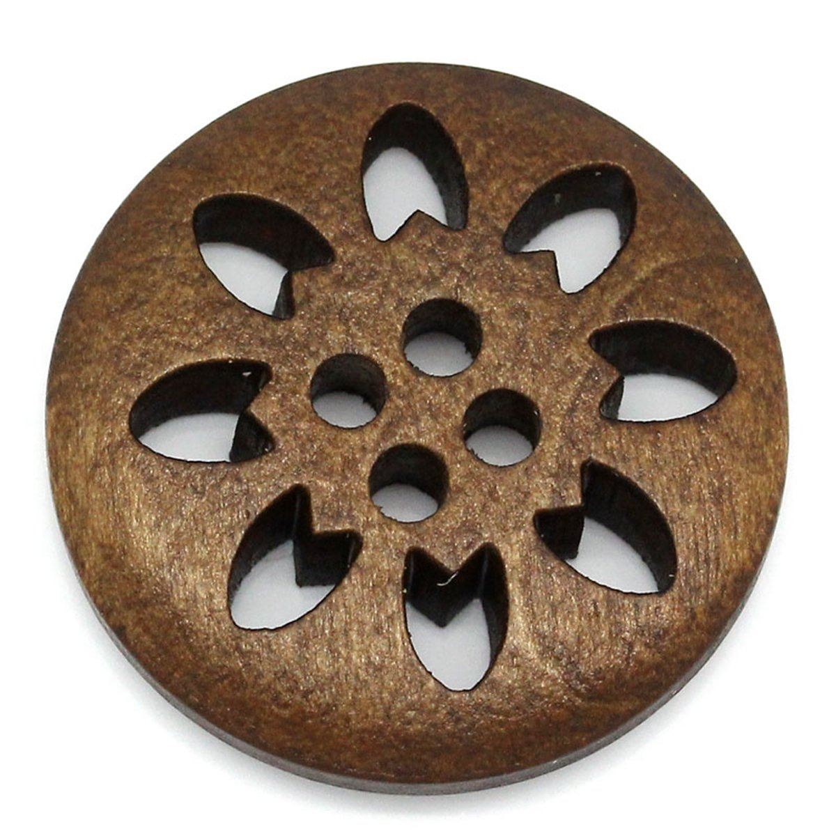 HOUSWEETY 50PCs Wood Buttons Sewing Snowflake Carved 4 Holes Brown 25mm Dia.(1) HOUSWEETYB27355