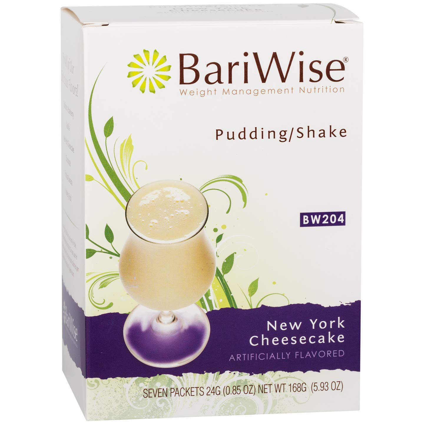 BariWise High Protein Shake / Low-Carb Diet Pudding & Shake Mix - New York Cheesecake (7 Servings/Box) - Gluten Free, Low Fat, Low Carb by BariWise