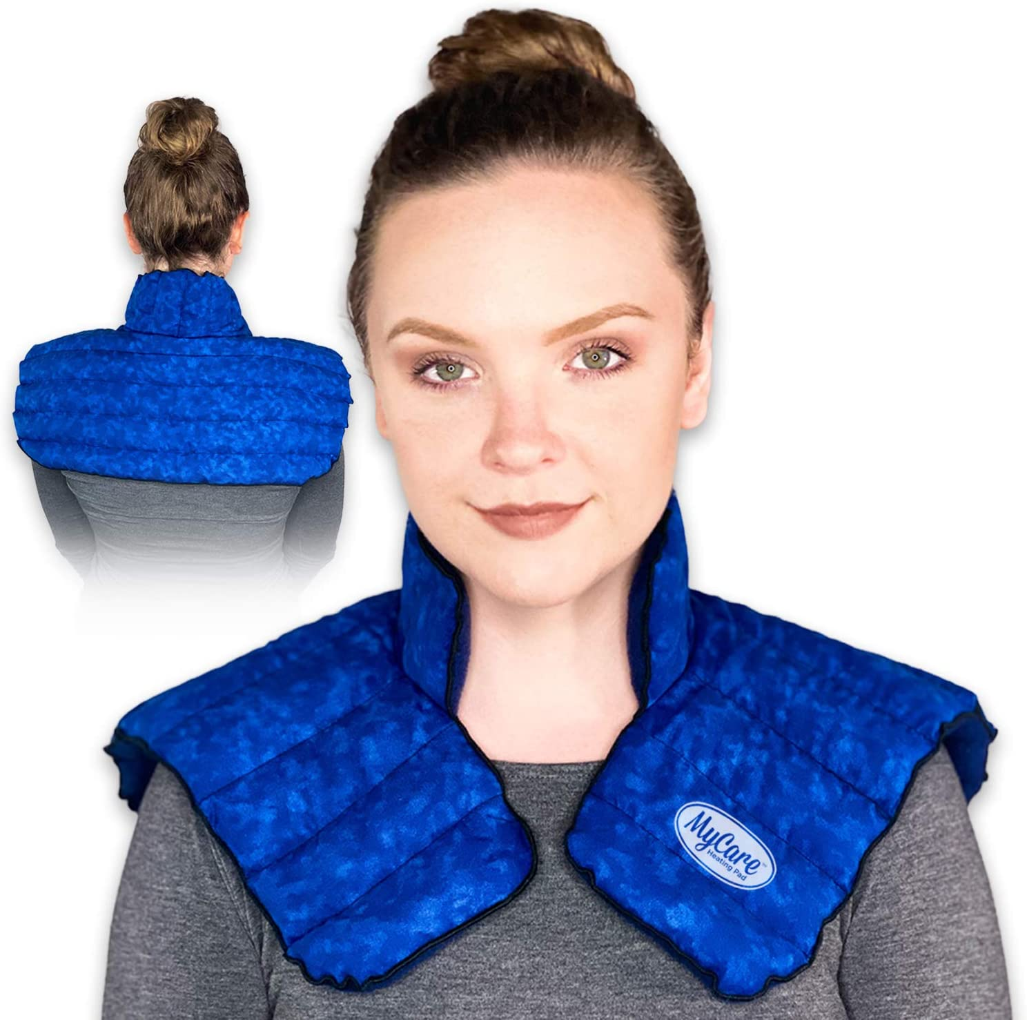 MyCare Heating Pad | Microwavable Large Neck and Shoulder Wrap for Instant Pain Relief - Weighted for Deep Moist Heat Pack for Stiffness, Arthritis, Bursitis, and Relaxation - Safe Natural Home Remedy