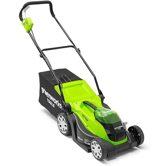 Greenworks 2501907UA Cortacésped Inalámbrico con batería y cargador incluídos, 40 V, Verde, 35cm