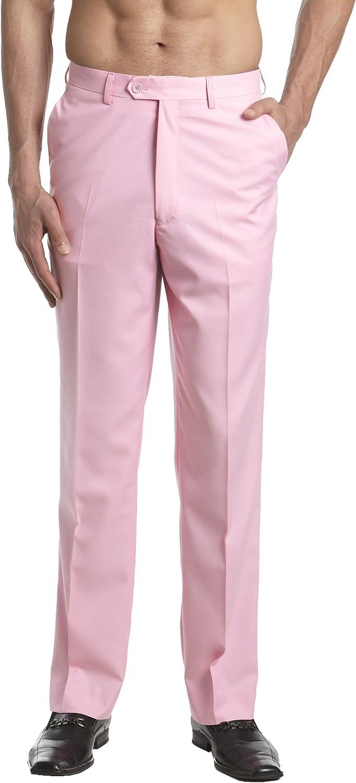 60s – 70s Mens Bell Bottom Jeans, Flares, Disco Pants CONCITOR Mens Dress Pants Trousers Flat Front Slacks Solid PINK Color $36.70 AT vintagedancer.com