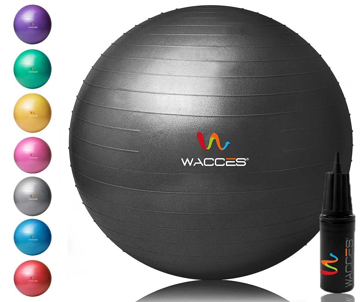 Wacces Yoga Ball with Hand Pump (Black, 65 cm)