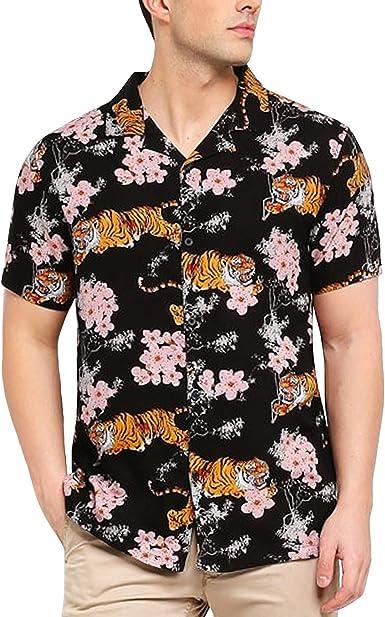 Brave Soul Khan - Camisa para hombre, diseño floral, color negro y multicolor - Negro - Medium: Amazon.es: Ropa y accesorios