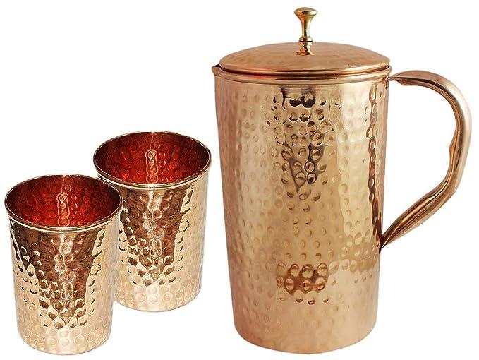 Jarra de cobre con mango de cobre y 2 vasos, recipiente 100% martillado puro, jarro de cobre para trabajo pesado, hecho a mano, 54 fl. oz, mejor para agua, ...