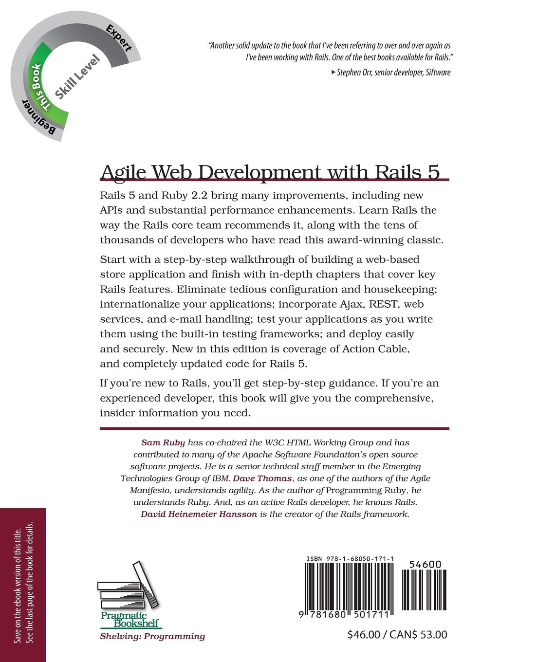 Agile web development with rails 5 sam ruby 9781680501711 books amazon ca