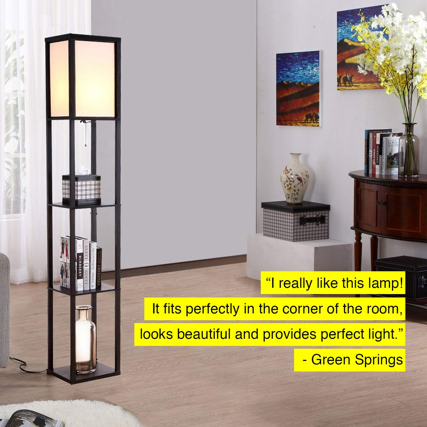 Brightech Maxwell - LED Shelf Floor Lamp - Modern Standing Light for Living Rooms & Bedrooms - Asian Wooden Frame with Open Box Display Shelves - Black by Brightech (Image #4)