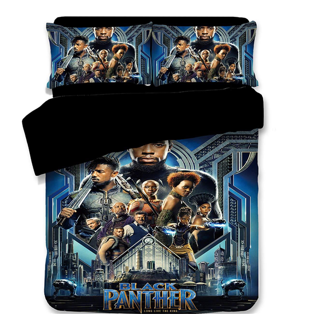 AMTAN 3D Black Panther Duvet Cover Set Kids Cartoon Bedding 3 Piece American Superhero Film Marvel Series Comics Movie Pattern Bed Sets 1Duvet Cover 2Pillowshams King Queen Full Twin Size