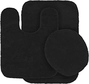 Better Home Style 3 Piece Bathroom Rug Set Bath Rug, Contour Mat, Lid Cover Non-Slip with Rubber Backing Solid Color (Black)