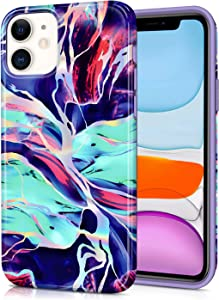 CAOUME iPhone 11 Case - Holographic Purple Marble Design Glitter Cute - Protective Stylish Cases for Apple Phone 11 (2019 Release)- Cover with Silicone Bumper Defender Camera and Screen